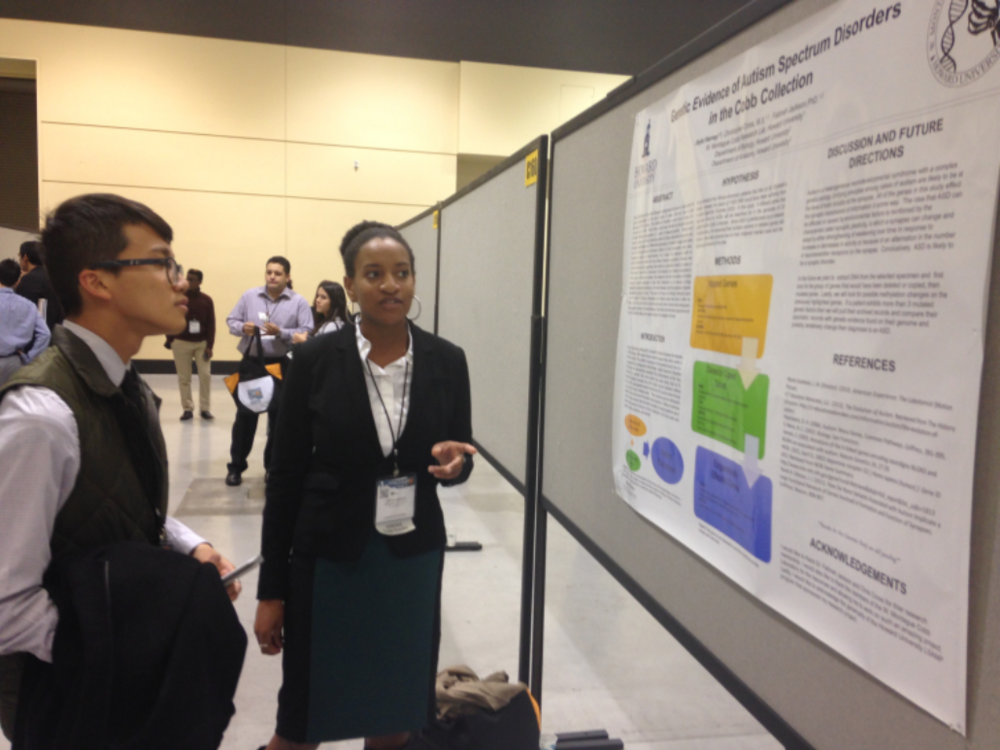"Jayla Harvey, presents her work at ABRCMS in the Neuroscience Section, ""Genetic Evidence of Autism Spectrum Disorders in the Cobb Collection."""