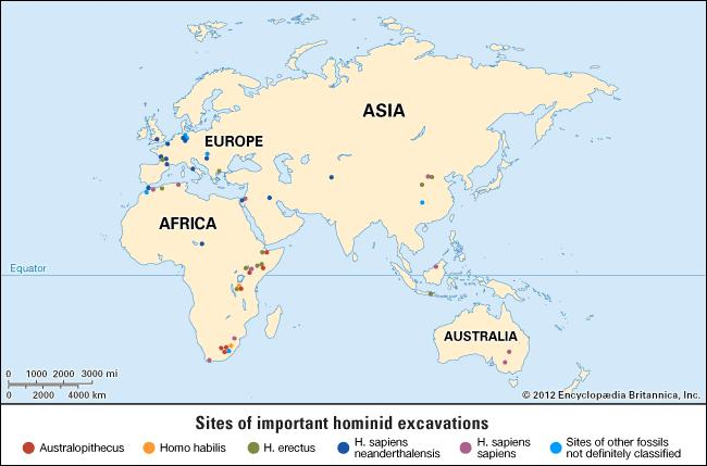 Figure 1: Significant excavations of early and modern humans