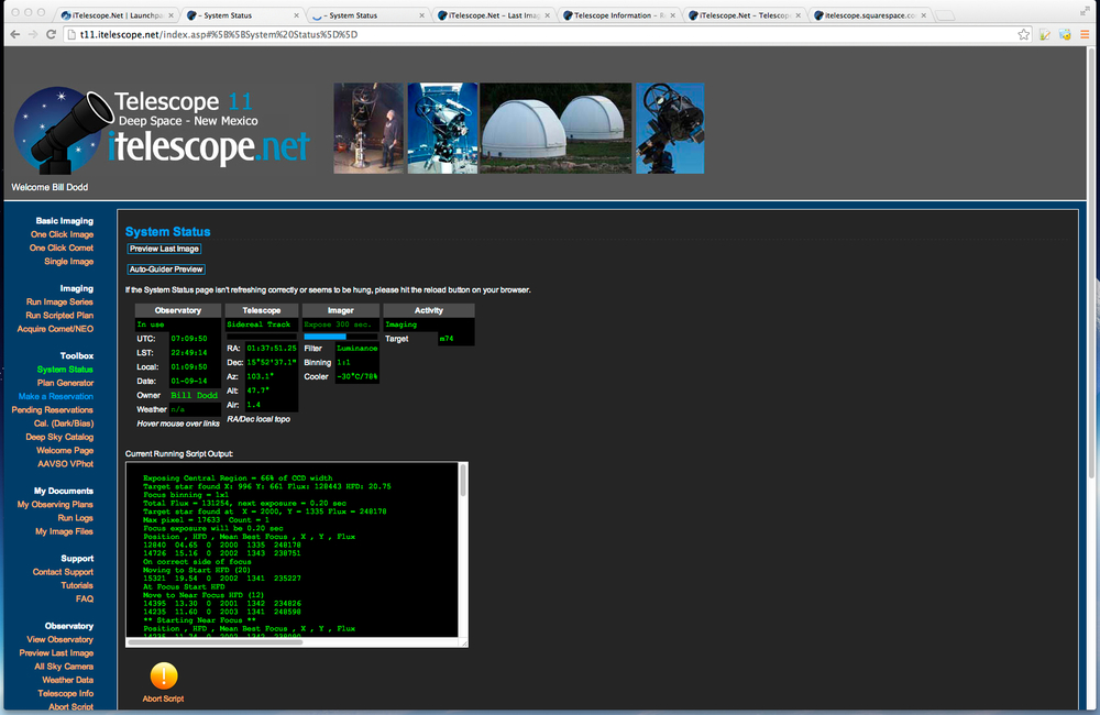 Each telescope has it's own host on the itelescope.net domain and an easy-enough http interface from which you can submit imaging jobs and monitor their status.