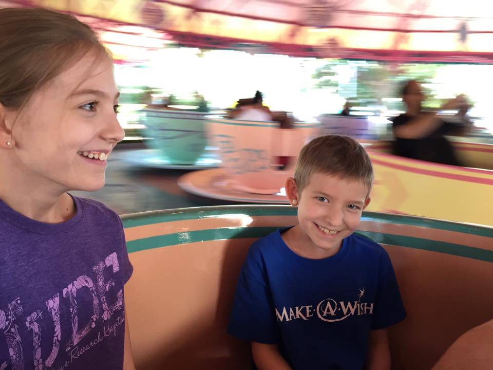 Spinning around on the teacups.