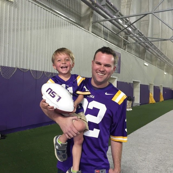 Grayson had his Make-A-Wish announcement at an LSU Football practice and I got to go too. He got to meet the coach, all the players and run around the field.