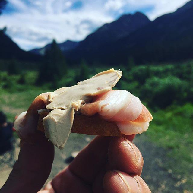 A little foie gras, parma crostini today. #goutmetglampclub #thegreatoutdoors #summerbusiness #aspencolorado #privatechef
