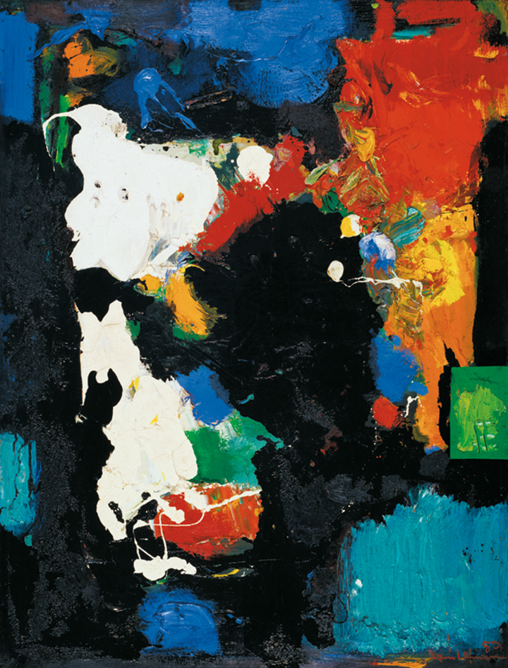 The Conjuror, 1959 Oil on board mounted on canvas 59 1/4 x 44 7/8 in. (150.5 x 114 cm) Städtische Galerie im Lenbachhaus und Kunstbau München, Munich. Gift of the artist (G13206) Photography courtesy of Städtische Galerie im Lenbachhaus und Kunstbau München, Munich