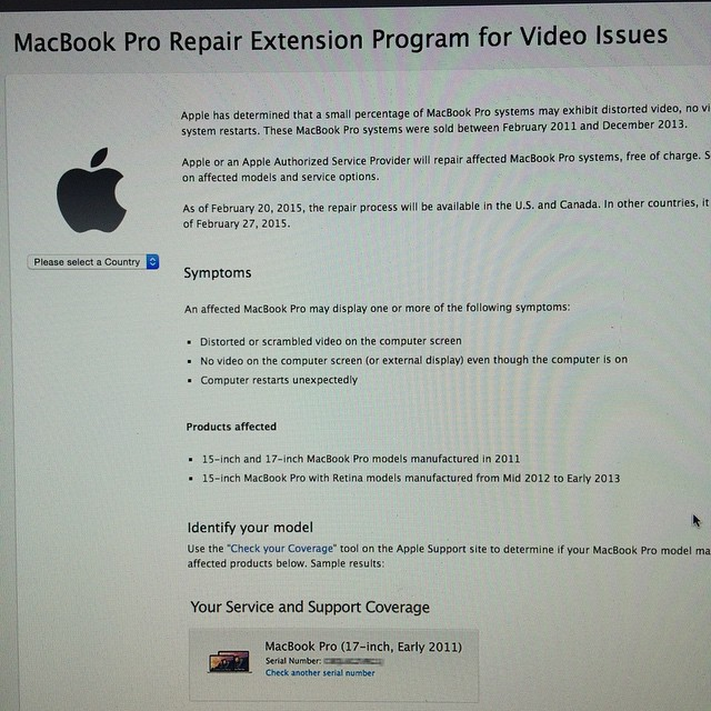 HEY Y'ALL .     Remember all those Video card issues I was having with my MBP and ultimately had to replace my laptop ? Well Apple is now offering FREE repairs for 15 & 17 inch 2011 MBP and 15 in retina MBP from 2012-2013.     http://www.apple.com/support/macbookpro-videoissues/