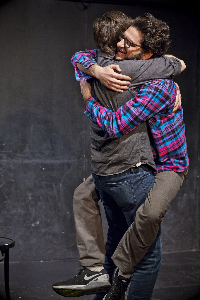 UCB Franklin | Gravid Water | 01.04.14 A touching moment of acceptance between Michael McMillian & Ben Schwartz.