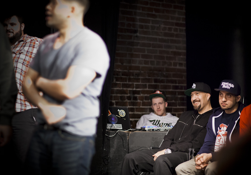 UCB-LA | Take it Personal: Hip Hop Improv | 03.05.14 Monologist, B-Real, sits off stage and watches Cordero and Gabrus improvise a scene based on a drug bust B-Real's bodyguards orchestrated as a prank.