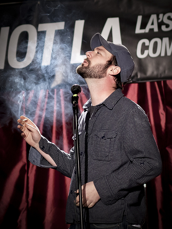Riot LA Comedy Festival @ The Lexington | Los Angeles, CA |01.09.14 Jon Dore does his impression of a man smoking in a non-smoking public space.