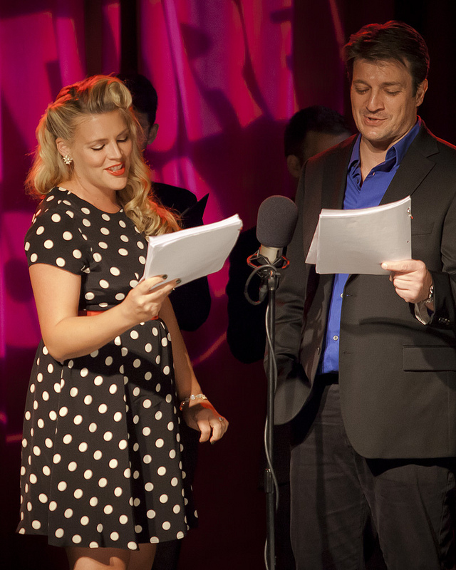 Thrilling Adventure Hour Concert | 10.06.13   Busy Philipps as Red Plains Rider and Nathan Fillion as Cactoid Jim doing a very lovely duet during last weekend's taping of the Thrilling Adventure Concert Film.