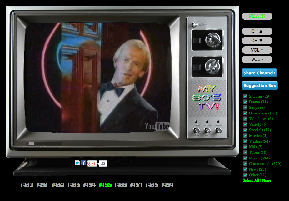 Here's a fun thing! My 80s TV This guy made a search filter (similar to YTTM), but he made it to simulate channel surfing during days of yore, complete with knob turn sounds and tv snow transition between videos. I still have that sense memory of turning a TV knob to flip channels because I didn't have a remote.  (via reddit)