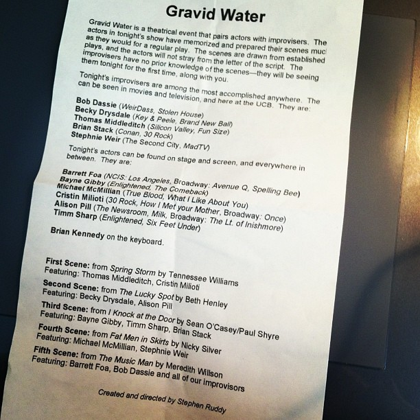 Last Night's Gravid Water Lineup