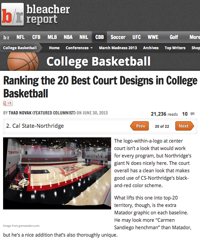 Awesome, our office did this redesign of CSUN's court! (via bleacher report)