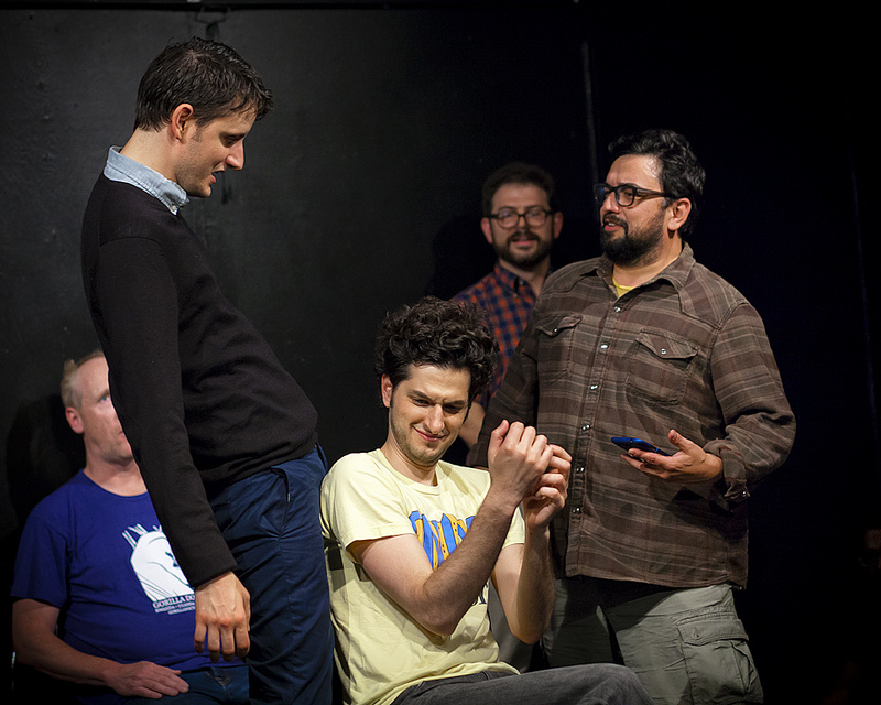 UCB-LA   Snowpants   06.22.13   Zach Woods, Ben Schwartz and Horatio Sanz acting out a new Samsung Galaxy commercial.