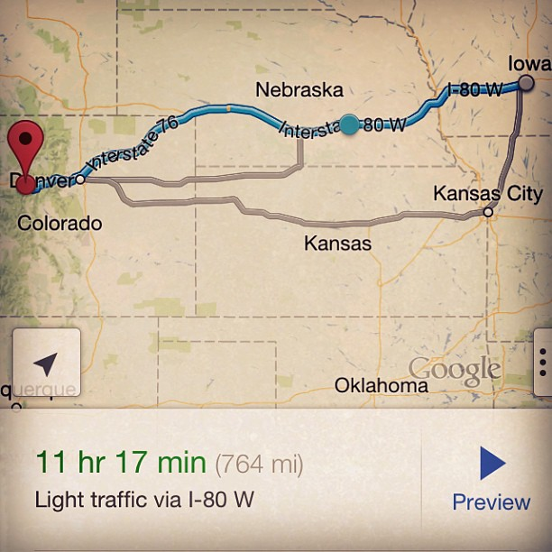 Day 2 itinerary… Pushing through Denver to get to Vail.