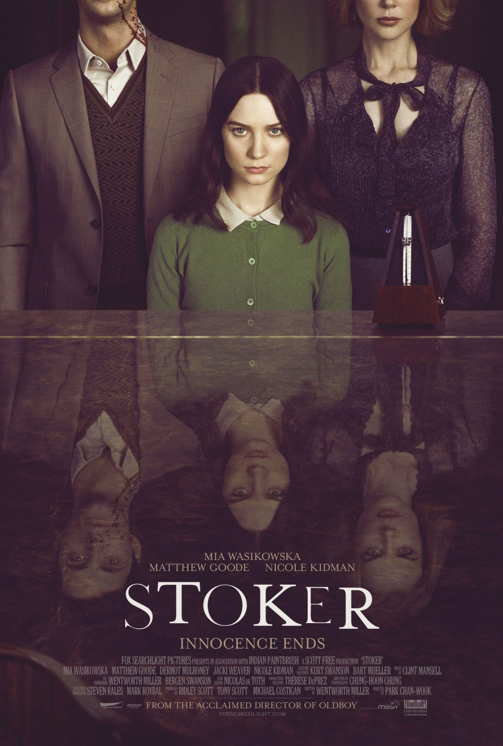 "Thoughts on Stoker.  ""… wait, this doesn't take place in the 60s?!"" ""Mia, I'm going to need you to channel Darlene from Roseanne."" ""Sociopaths have amazing hypersensitive superhero hearing."" I appreciate that this movie was beautifully shot with careful thought given to the sound design (especially the deviled egg scene)… but there were holes in the plot that left me wondering things like ""what kind of childhood did she have to cause her to become such a complete off-the-rails sociopath? Why is she dressed like Wednesday Addams? Who keeps their freezer so deep in the bowels of the house?"" I need more context. So if anyone does see this film, we need to have a chat because there are parts of this film that make no sense. (see the trailer here)"