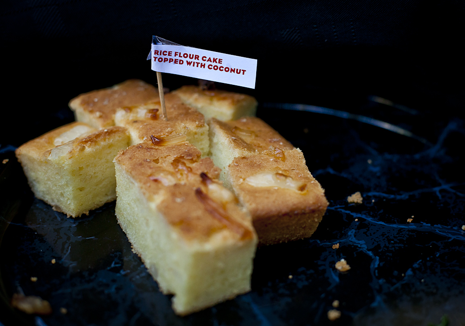 Cinefamily | Benson Interruption | 02.24.13 Today's Cinefamily members only show involved a potluck where we had to bring in a dish… after some consideration, I ended up bringing this filipino rice cake called Bibingka.  The cake is similar to this recipe, more or less. It's essentially a rice flour based cake whose flavor mostly comes from coconut and condensed milk. Throughout the cake are sweetened coconut bits called macapuno (it's amazing as an ice cream topping). The end result is a moist and mildly sweet cake with the texture of corn bread.