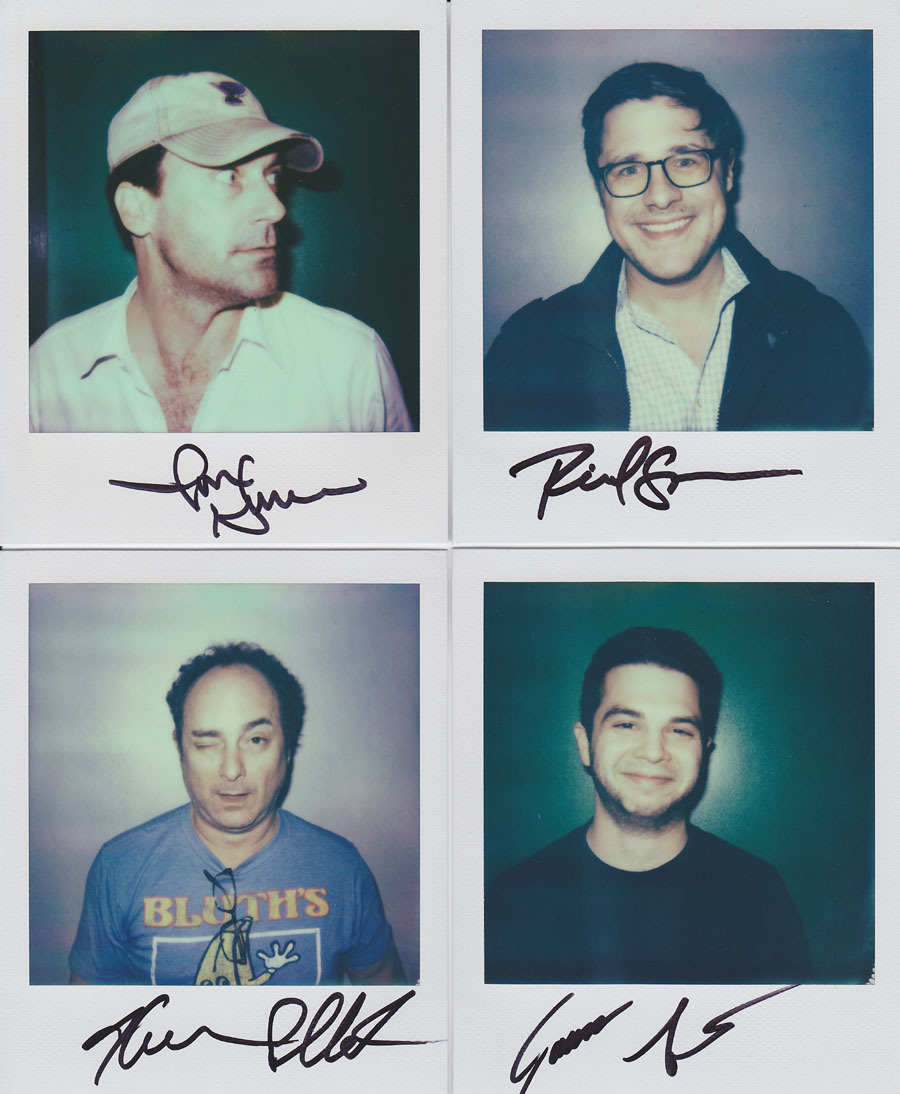 portroids: Jon Hamm, Rich Sommer, Kevin Pollak, Samm Levine - These original portroids are up for auction right now. They were taken backstage at Never Not Funny's Pardcast-A-Thon 2012 and all proceeds will benefit the charity Smile Train. The Polaroids were taken with Impossible Project's new PX680 Color Protection film and were autographed at the time. Bid now and help this great charity!