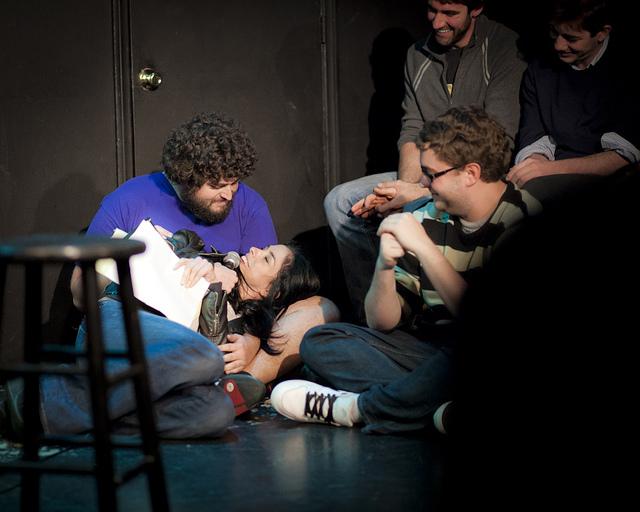 UCB-LA | Comedy Bang Bang | 11.20.12   Sarah Silverman gets comfortable on stage.