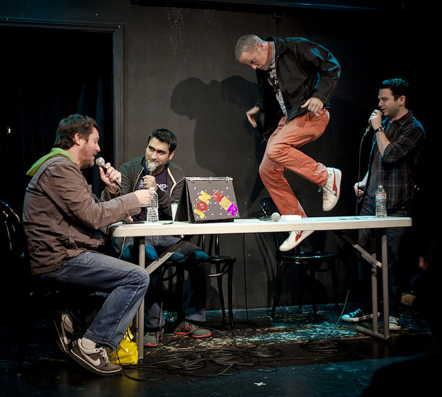 UCB-LA | Doug Loves Movies | 11.20.12  Doug Loves Movies guests, Kumail Nanjiani, Bil Dwyer (doing parkour) & Samm Levine