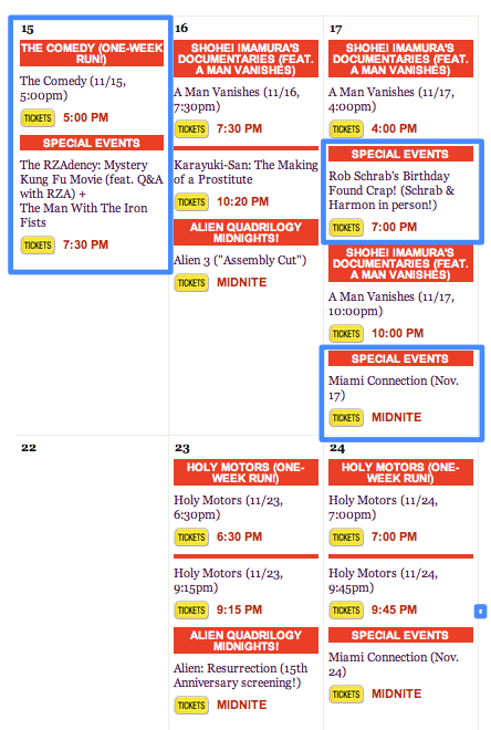 Some fun things at Cinefamily this week. Tim Heidecker's The Comedy, ends this week at Cinefamily Rza will be screening Man with the Iron Fists with a Q&A Schrab's Found Crap Miami Connection midnight screenings Get tickets/See the CalendarHere