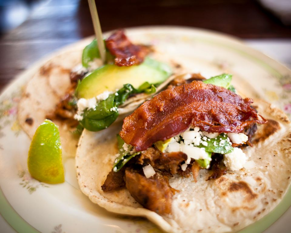 Antique Taco | Chicago, IL Adobo Rub, Tamarind Glaze, Bacon, Spinach, Onion, Avocado, Queso Fresco