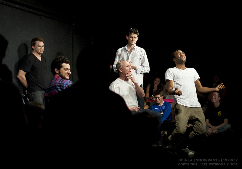 UCB-LA | Snowpants | 10.06.12 After Book of Mormon, I headed to UCB early for The Midnight Show only to find Michael C. Hall doing improv with Zach Woods, Donald Glover, Horatio Sanz, Matt Walsh, Thomas Middleditch, and Ben Schwartz. I asked him after the show about it, where he divulged he hadn't done improv since college. I hope this opens the door to him doing Gravid Water, since Jennifer Carpenter is a repeat on that show.