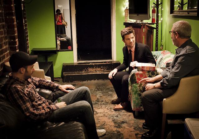 UCB-LA | Doug Loves Movies | 09.18.12 Chris Evans, Adam Scott, and Leonard Maltin (and me in the mirror).
