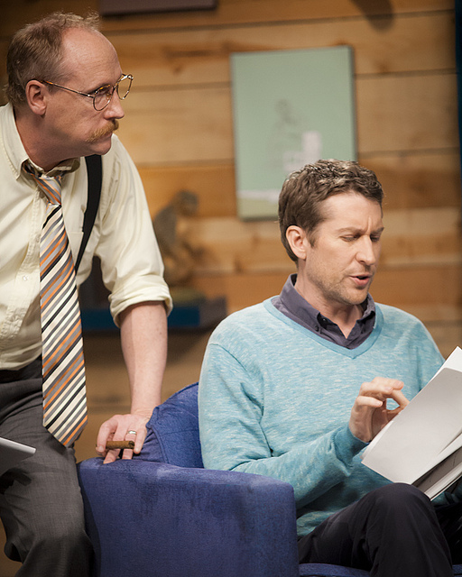 On the Set of Comedy Bang! Bang! on IFC |  02.24.12  Matt Walsh & Scott Aukerman making notes between shots.     This episode of Comedy Bang Bang will be on IFC this Friday at 10/9 CST!