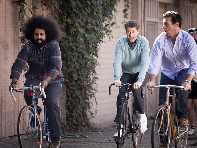 Comedy Bang! Bang! on IFC | 02.24.12 Scott finally gave me the okay to share photos from my visit on set back in February since this episode will be airing this Friday. So here's a shot of them on bikes.