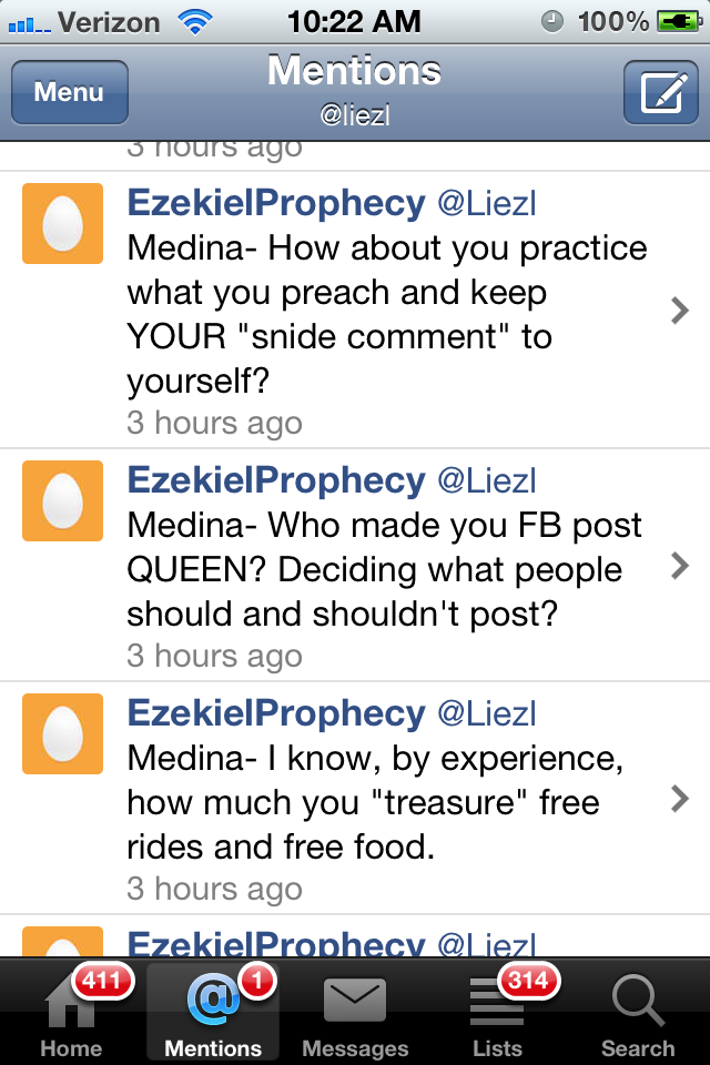 I get mistaken for other Liezl's on twitter on a weekly basis. This rant is the best yet. You done fucked up Liezl Medina.