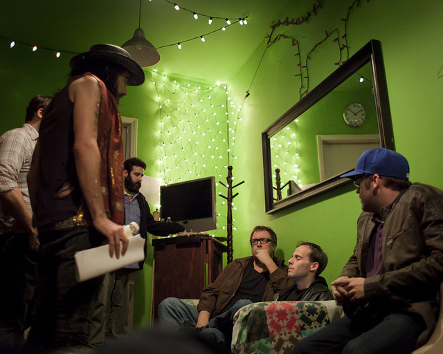 UCB-LA | Comedy Bang Bang | 04.03.12 I forget what we were talking about but everyone looks pretty concerned and Jake Fogelnest looks like he's meditating. L-R: Russell Brand, Jonah Ray, Mike Rosenstein, Steve Agee, Jake Fogelnest & Tim Young (1st winner of LA Food Bank Charity Auction to host Comedy Bang Bang 3 years ago.).