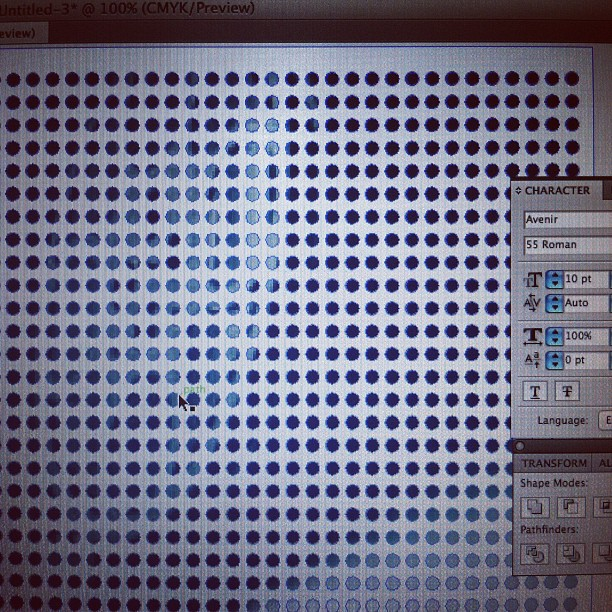In Vegas, I can hear NYs roller coaster outside, but here I am making half tone dot patterns for work. (Taken with instagram)