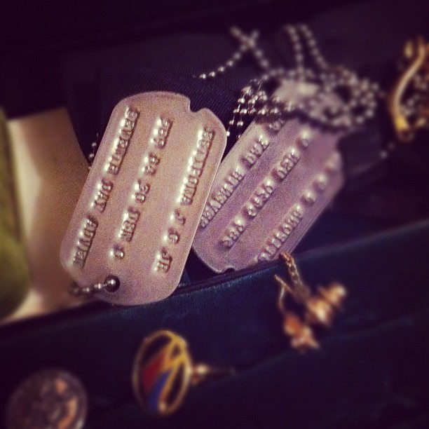 dad's dog tags. (Taken with instagram)