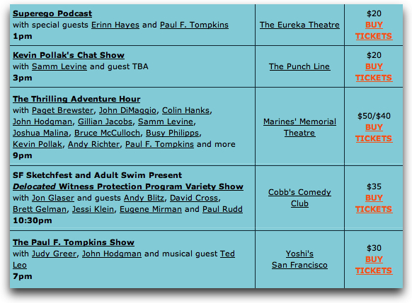 I have received my SF Sketchfest schedule. I've limited myself to one weekend this year, to prevent a heart attack. While I will not be shooting Wet Hot American Summer, I will be watching the show as a regular ol' audience member, despite being insanely sold out. OH WELL.  (the rest of the schedule here)
