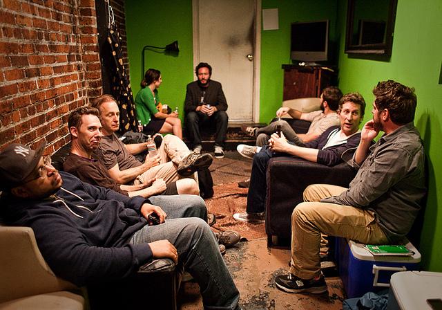 UCB-LA | Comedy Bang Bang | 08.16.11     Bottom L-R : Hugh Moore, Matt Belknap, Bob Odenkirk, Holly Prazoff, Brendon Walsh, Adam Clayton-Holland, Scott Aukerman, and Zach Galifianakis