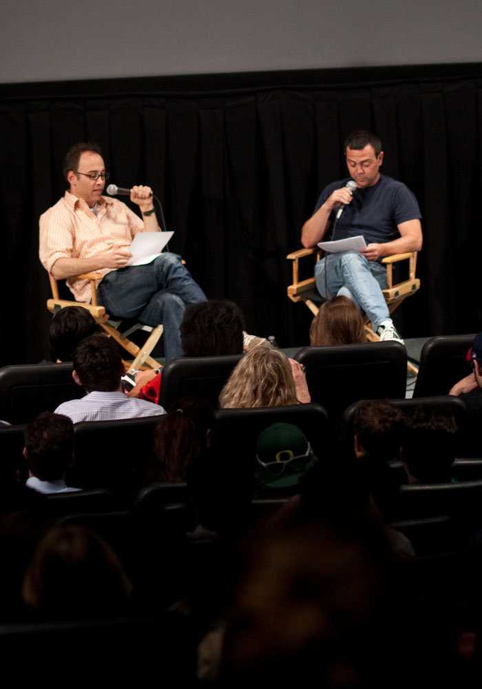 "Wet Hot American Summer Screening and Q&A | LA Film School | 06.09.11 David Wain and Joe Lo Truglio read an old chat transcript between Wain and Showalter for potential names for the movie. Unfortunately, the only name I can remember is ""Bunk"" and ""Tiny Fingers Searching for Penis and Vaginas."" (thanks androsky) Notes from the Q&A which will be released as a podcast from @yogoldsmith. If you've listened to the WTF with Marc Maron interview with Michael Showalter, you'll know that Showalter was/is still pretty disheartened at the lack of success of Wet Hot American Summer… and here's why. The movie was shot for $1.8 Million dollars, after being shopped at Sundance, no one was interested. Months later, USA Films made an offer… of $100,000. Then when it was finally released, pretty much every reviewer hated it. That can understandably make one quite bitter. The scene in which Marino's character plows the van into a tree is directly based on an incident that happened to Wain. In one of the first drafts of the scene where Andy throws the kid out of the van after witnessing him let his swimming buddy drown, Wain originally had Andy take out a gun, screw on a silencer and pop a bullet in the back of the kids head. Wain's dad read it and said if he kept the scene in, he would disown him."