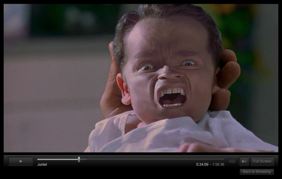 Junior (1994).   Hello nightmare.  Schwarzenegger plays a fertility drug research scientist whose project gets cut due to funding, but fellow scientist  Uncle Frank  Devito convinces him to become the first human test subject for their fertility drug called Expectain.   Initially, the experiment was not to carry to full term, but to prove the drug works. However they never discuss what was going to happen after those first couple weeks of pregnancy. Does the fetus just get absorbed into his chiseled abs after he stops taking the fertility drug? Is there an abortion? I need to know these things Devito.   AND, at one point, Emma Watson's character makes light that she likes portly guys, because she was once attracted to her portly cousin. … what?   Also it blows my mind that this movie was released the same year as True Lies.