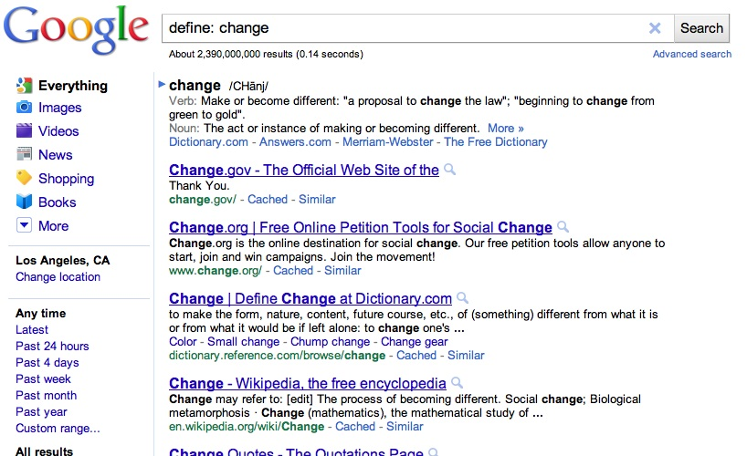 I am VERY unhappy about Google changing the define: command to this.