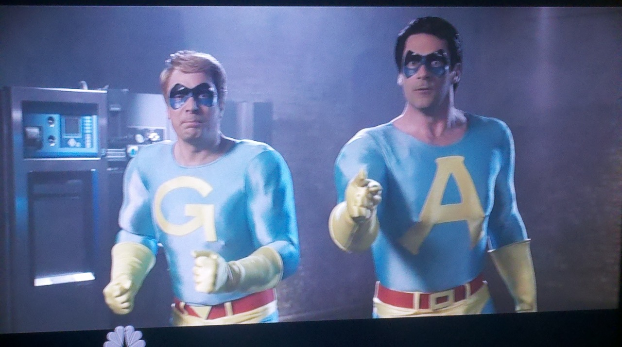 I guess I'll be tuning into SNL tonight. popculturebrain: Jon Hamm and Jimmy Fallon as Ace and Gary, The Ambiguously Gay Duo IRL