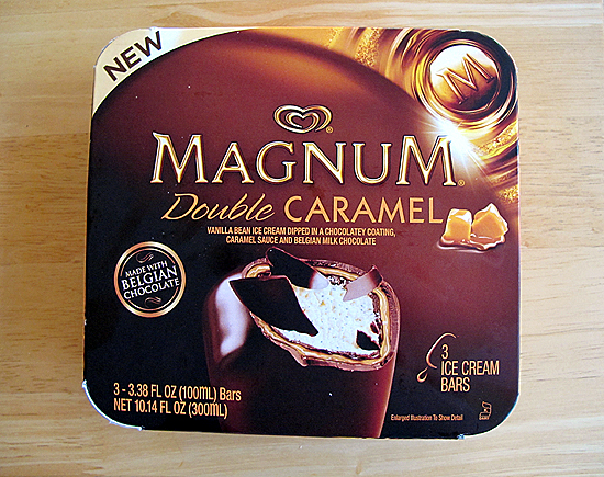 Magnum Ice Cream . My goal is to eat one of these today.    Magnum®        Double Caramel  | Silky vanilla       bean  ice cream enrobed in a luscious chocolatey coating, rich caramel        sauce and thick Belgian milk chocolate