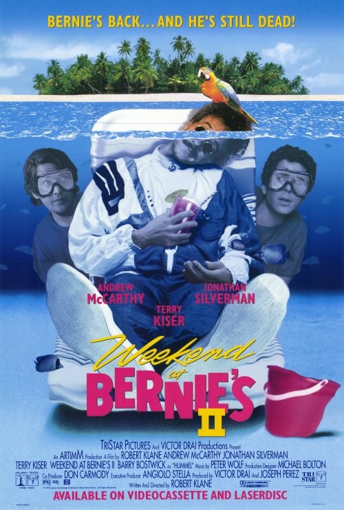 Weekend at Bernie's II.  Yep, this was my choice. Mostly because I don't remember the first one at all and spent a lot of time trying to figure out the context of what was happening.    Some Notes:      Voodoo? absolutely normal and acceptable in this movie.   Andrew McCarthy's character is obviously on coke right?   It took 30 minutes for them to address that a dead body smells.   Bernie's body has not a scratch or broken limb after being dropped from a building, crashed through a cage of parrots, but more importantly  THIS.    SERIOUSLY. WHAT THE FUCK.