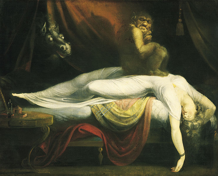 """So I have a history of Sleep Paralysis .  It doesn't happen very often these days, but I did get them fairly frequently in high school… just about the time I was diagnosed with your classic aura inducing migraine.   In a nutshell, it's when your brain wakes up before your body does. You're fully awake, but you can't move or speak. It feels like some invisible being is holding you down. Occurrences are also paired with buzzing sounds, crazy hallucinations and lucid dreaming.   Speaking of which, the last fairly lucid dream I had just happened last week. It involved dress shopping with Oprah. When I didn't agree with her dress choices, she replied with """"I'm  Oprah,  I can make them work.""""   To which I thought to myself,""""Man, even in this dream, Oprah's a cocky asshole."""""""