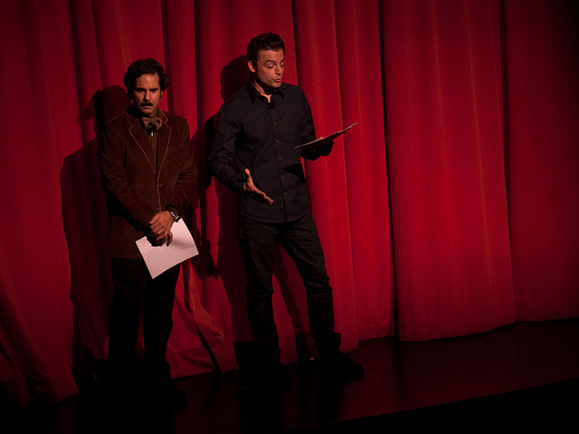 "Largo | Paul F. Tompkins Show | 02.26.11     ""Before you hit send, see if you could maybe you trim it down a little, or slit your own throat.""       In the latest  episode   extrasode  of the Pod F. Tompkast, Paul answers an email from a disgruntled audience member. Answers it hard. Featuring Justin Kirk and recorded live at Largo.      I was wondering if he'd release this, when it didn't appear on the last podcast episode I thought he might have scrapped the idea because he tore into the guy with no remorse. I'm glad I was wrong."