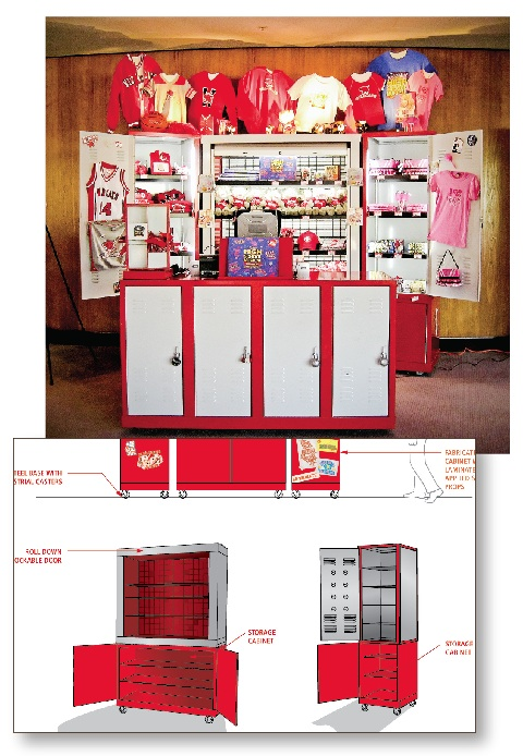High School Musical tour souvenir kiosk    Here's a kiosk I helped design a couple years ago. I took one for the team and did all the research for this project, which entailed carefully watching High School Musical (… multiple times…) for design cues from their set dressing.   This may be why I have a lot of deep rooted hate for this musical and all its cast… and possibly Glee.