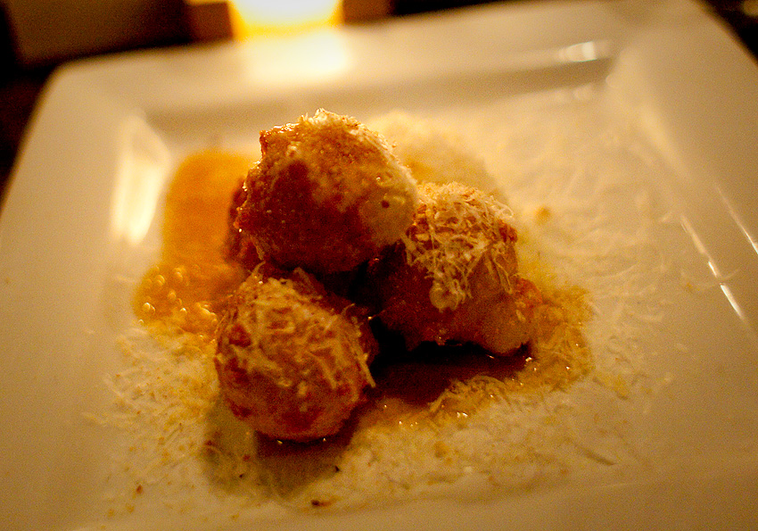 "Longman & Eagle | Chicago, IL | 03.26.11 This was holy shit delicious… Warm Gruyere Donuts, ""Blis"" Maple Syrup, Rasped Parmesan, Roasted Hazelnut, Whipped Citrus Goat Cheese Other items we sampled. Browned Butter Cake trifle with lemon carbonated saffron cream Ricotta Gnuddi, Tapenade, Basil, Charred Tomato Vinaigrette Something involving truffle oil. Roasted Miller Half Chicken, Pomme Puree, Swiss Chard, Carmelized Onion, Pickled Cherry, Date Jus Crisp for lunch, Sucker Punch on IMAX, a completely indulgent dinner, and a choco taco. Perfect Day with the guy."