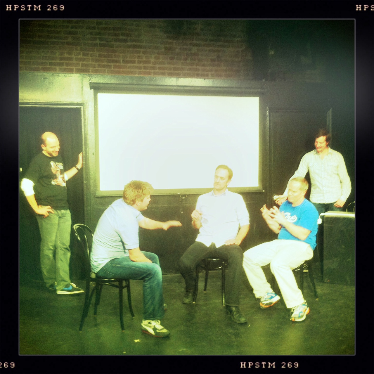 agentash :      rubenfm :     I went to the Facebook show at UCB tonight. Five of the funniest out there.     What's special about this particular UCB-facebook photo? They are talking about me!!! (or the guy before me…but whatever) I did it!      This is the first show I actually watched instead of shot…. also ash, how's that pussy kicking orgasm?