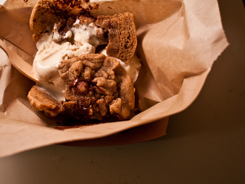 Chunk N Chip  Truck | 02.20.11     Nutty Wutty:  Peanut Butter Ice Cream sandwiched between two warm(!!@#!$) homemade chocolate chip cookies.   Yes it's worth $4.  Also, fuck you diddy reese.