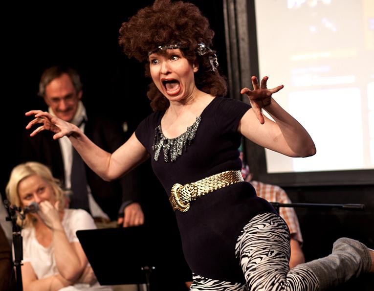 UCB-LA | The Back Room | 02.12.11    Lennon Parham as retired Solid Gold dancer doing her tiger face.