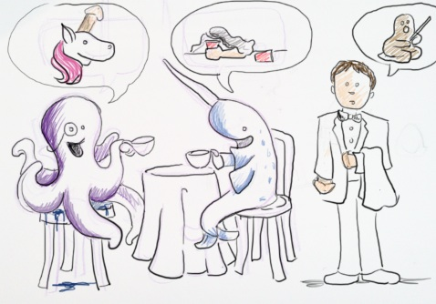 """quick sketch o' the day:  suggestion mash-up.   """"An octopus & narwhal discussing a  unicorn  penicorn"""" """"me."""" """"me asking about clay of the day."""" """"arm cocks."""""""
