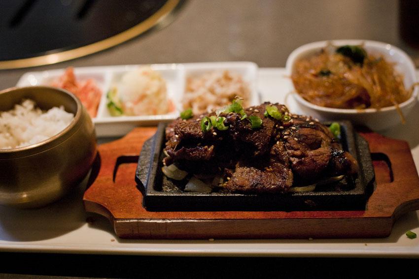 Gyenari | Culver City, CA | 01.17.11    Galbee short rib lunch platter ($9.95!)   Short rib, japchae, bean sprouts, potato salad, kimchee & steamed rice.