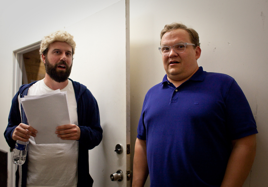UCB-LA |  Comedy Death-Ray Nativity Pageant | 12.14.10    Brett Gelman and Andy Richter rehearse backstage.